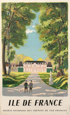 Vintage Railway Travel Poster - Ile de France by L.F. Dominique.
