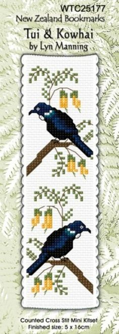 Cross-stitch bookmark kit by Lyn Manning - finished size 5 cm x 16 cm. Cross Stitch Books, Cross Stitch Bookmarks, Cross Stitch Patterns, Maori Patterns, Cross Stitching, Sewing, Crafts, Stitches, Bookmarks