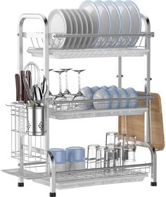 Dish Drying Rack,Ace Teah 3 Tier Dish Drainer, 201 Strainless Steel Dish Rack with Utensil Holder and 3 Draining Boards, Silver Draining Board, Dish Drainers, Life Kitchen, Dish Racks, Utensil Holder, Spice Things Up, Things To Sell, Easy Healthy Recipes, Small Businesses