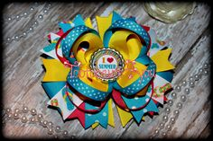 Summer Hair Bow I love Summer Boutique Hair by PinkHairBowBoutique