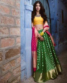 Yellow blouse colorful banarasi lehenga looks so beautiful. Choli Designs, Lehenga Designs, Half Saree Designs, Indian Lehenga, Banarasi Lehenga, Anarkali, Brocade Lehenga, Half Saree Lehenga, Lehenga Style