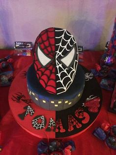 Spiderman Black and Red Cake