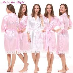Fashion Lace Bath Robes Solid Bride Gown Soft Kimono Nightwear Wedding Clothes Sexy Stain Bathrobes Gown 8 Colors Casual Maternity, Lace Kimono, Bride Gowns, Bridesmaid Dresses, Wedding Dresses, Satin Fabric, Bath Robes, Sexy Outfits, Nightwear