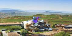 Hotel Marques de Riscal in Elciego, Spain: iconic vineyard hotel built by Frank Gehry, who gave Bilbao the Guggenheim.
