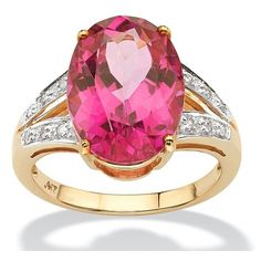 8.80 TCW Topaz Diamond Accent 10k Gold Ring ($300) ❤ liked on Polyvore featuring jewelry, rings, jewelry & watches, pink, pink gold ring, rose gold ring, pink ring, yellow gold rings and topaz jewelry