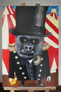 2 / 7    'FUNNY MONKEY'  Acryl op hout / Voor en achter vernist 30 cm breed - 90 cm hoog - 1 cm dik  Kunstenaar: Dominika Legowska - 6PUG  STARTBOD = 20 euro