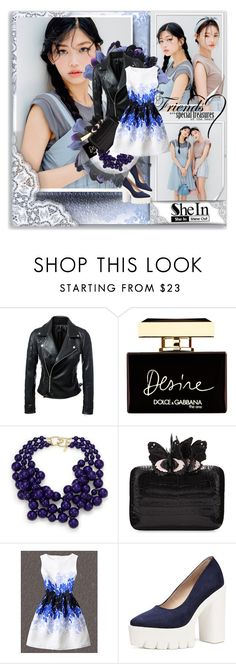 """""""SheIn- LeavesPrintJacquard"""" by shinee-pearly ❤ liked on Polyvore featuring Dolce&Gabbana, Kenneth Jay Lane, Nancy Gonzalez and WithChic"""