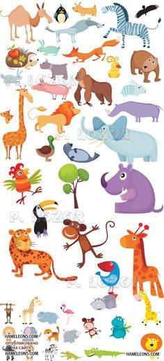 Веселые животные - детский векторный клипарт | Funny vector animals 2