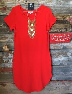 Fun in the Sun Tunic Dress: Red Orange