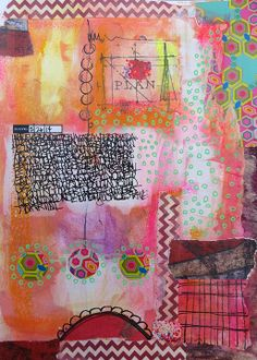 The Common Denominator: Art Journal Love. Art Journal pages by Mary Beth Shaw using StencilGirl stencils.