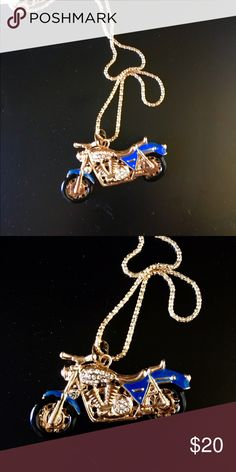 """Cool Harley motorcycle necklace Gold tone, blue enable and crystals. 28"""" chain Betsey Johnson Jewelry Necklaces"""