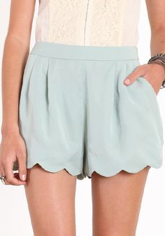 Simple and stylish mint green shorts with pleats on the front and a scalloped hem. Pastel Shorts, Mint Shorts, Scallop Shorts, Pretty Outfits, Cute Outfits, Dress Me Up, Passion For Fashion, Dress To Impress, Fashion Forward