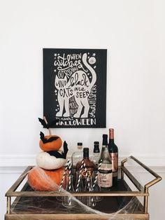 Halloween Bar Cart // Cozy Fall Home Tour