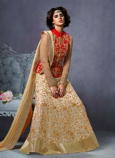 Compelling Cream and Red Zari Work Net A Line Lehenga Choli