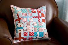 Red  Blue Cross Pillow – Pillow Talk Swap 4 by VeronicaMade, via Flickr
