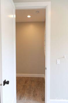 Wall color is Benjamin Moore Collingwood Benjamin Moore, Bathroom Lighting, Spotlight