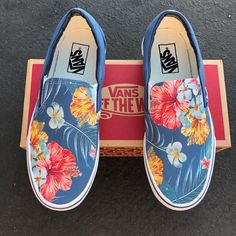 Tropical Floral Pattern on Navy Vans Slip On Shoes – Men's and Women's Custom Vans Sneakers – Age Spots Vans Sneakers, Vans Slip On Shoes, Mens Vans Shoes, Tenis Vans, Me Too Shoes, Vans Men, Van Shoes, Wide Shoes, Custom Slip On Vans