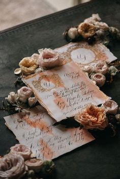 Elegant, fine art, wedding stationery with coral watercolour background and deep gold design. Finished off with hand calligraphy, this classy wedding stationery suite would be perfect for a wedding in Paris, France or Lake Como. Wedding Invitation Suite, Invitation Set, Wedding Stationery, Autumn Bride, Autumn Wedding, Portuguese Wedding, Vintage Wedding Theme, Italy Wedding, Paris Wedding