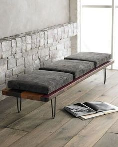 Sleek bench, iron, wood & cushions