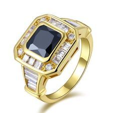 http://rubies.work/1013-citrine/ Unique Jewelry - Womens Jewelry Size 8 Black Sapphire 18K Gold Filled Fashion Anniversary Rings
