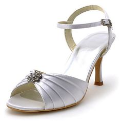 Elegant Bridal Satin  Sandals with Rhinestone Wedding Shoes (More Colors) – GBP £ 39.32