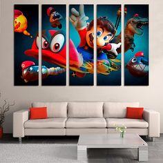 Super Mario poster baby room decor nursery artwork Canvas Print video game poster Retro Vintage Game Mario Canvas Print Bedroom wall art Artwork is printed at high resolution with vivid color on thick high quality canvas to create the look and feel of the original nature and masterpiece