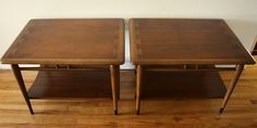 LANE Dovetail Matching Side End Tables (2) - This is a pair of rectangle mid century modern side tables by LANE. They are in excellent condition, are made of sold wood and have the very cool dovetail design on the top.  Each table has a bottom shelf and tapered legs.  Dimensions of each rectangle side table: 21″W x 28″D x 20″H  *SOLD*