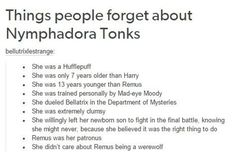 Tonks is one of the strongest, BAMF characters of Harry Potter. Definitely one…