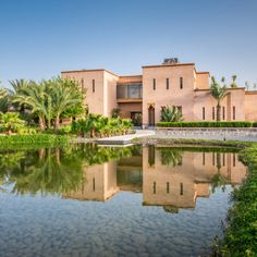 Marhba is a luxury private villa located in the Palmeraie of Marrakech. It features 5 bedrooms, a swimming pool and a private butler. Marrakesh, Luxury Villa, Yves Saint Laurent, Swimming Pools, Mansions, House Styles, Modern, Emerald, Traditional