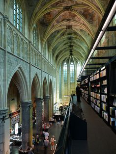 Maastricht an old church has been converted into a bookshop (Selexyz Dominicanen), Netherlands