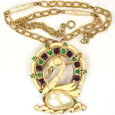 Hattie Carnegie Enamel Mother of Pearl Gold Chains and Baroque Pearls Swan in the Waves Pin or Pendant Necklace