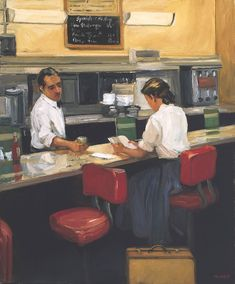 Night Cafe (2012). Sally Storch (American, 1952-). Oil on canvas. Storch cites Edward Hopper and Thomas Hart Benton as great inspirations. She combines their style with that of the early Ash Can and Regionalist schools of New York to create passionate contemporary paintings that incite feelings of timelessness and romance.