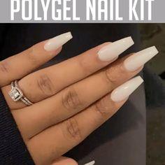 Shop OFF PolyGel Nail Kit Makeup Hacks makeup box hacks Pastel Pink Nails, Cute Pink Nails, Yellow Nails, Pretty Nails, Polygel Nails, Coffin Nails, Classy Nails, Simple Nails, Summer Acrylic Nails