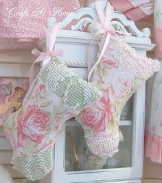Lavender Filled Stocking Sachet Ornaments @Craft At Home: These stockings are quite easy to make and can be completed by hand, if you do not have a sewing machine. Begin by cutting all pattern pieces. Follow the lay out direction noted on each pattern piece. For my stockings I have chosen to use a pretty pink rose barkcloth and scrap pieces of vintage chenille...
