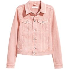 Denim Jacket $34.99 (225 DKK) ❤ liked on Polyvore featuring outerwear, jackets, tops, h&m, h&m jackets, pink jean jacket, pink denim jacket, collar jacket and pink jacket