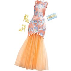 """Barbie Gown Fashions - Peach Cherry Blossom Print Dress with Tulle Skirt, Floral Clutch and Yellow Shoes -  Mattel Girls - Toys""""R""""Us"""