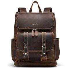 BOSTANTEN Leather Backpack 15.6 inch Laptop Backpack Vintage Travel Office Bag Large Capacity School Shoulder Bag - FrenzyStyle Memento Vivere, Best Laptop Backpack, Diaper Bag Backpack, Laptop Bags, Canvas Backpack, Travel Backpack, Duffel Bag, Leather Diaper Bags, Leather Backpack For Men