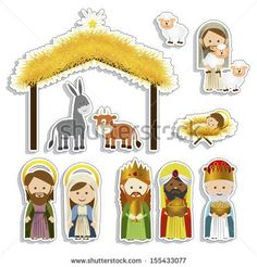 Similar Images, Stock Photos & Vectors of Cute hand drawn characters of Nativity scene can be used as Christmas school play banner - 335672042 Christmas Images, Christmas Design, Christmas Time, Christmas Ornaments, Nativity Clipart, Nativity Crafts, Paper Toys, Paper Crafts, Captain America Party