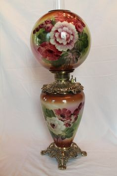 Victorian: Gone With the Wind Oil Lamp, with beautiful hand-painted roses and original parts. Antique Oil Lamps, Old Lamps, Antique Lighting, Vintage Lamps, Hurricane Oil Lamps, Victorian Lamps, Victorian Furniture, Globe Lamps, Crystals