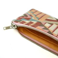 small upcycled zipper pouch / zero waste vegan wallet / divided credit card cash holder / colorful purse / eco friendly / sustainable
