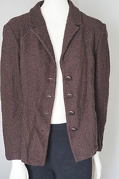 ST-JOHN-COLLECTION-Brown-WOOL-Blazer-Jacket-MADE-IN-USA-Size-12 Blazer Jacket, Blazer Suit, Size 12, Wool, Suits, Clothes For Women, Usa, Brown, Sweaters