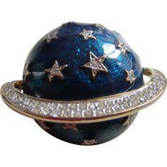 #Vintage cure for the #MondayBlues online at www.rubylane.com @rubylanecom -- Vintage BUTLER & WILSON Large Cobalt Blue Enamel and Rhinestones Planet Brooch