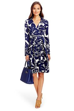Love DVF's classic wrap dress. T72 Silk Jersey Wrap Dress In Giant Floral Solid Midnight