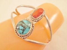 Navajo Turquoise Coral Cuff Bracelet Sterling Silver by BADTIQUE