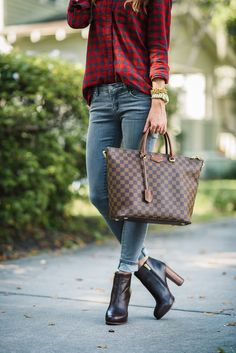 Red Plaid with Grey Jeans | Sequins and Things