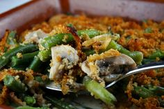 This recipe for Green Bean Casserole w/ Caramelized Onion Breadcrumbs utilizes fresh green beans & mushrooms. It's an updated version of the Campbell's recipe.