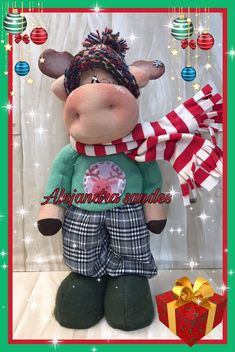 Christmas Gnome, Christmas Crafts, Gnomes, Gingerbread Cookies, Deer, Cow, Cactus, Teddy Bear, Sewing