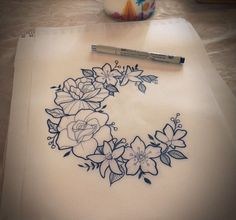 @AutenticAsh1105 Beautiful Tattoos, Wreath Tattoo, C Tattoo, Shape Tattoo, Piercing Tattoo, Flower Tattoo Drawings, Skull Tattoo Flowers, Birth Flower Tattoos, Floral Shoulder Tattoos