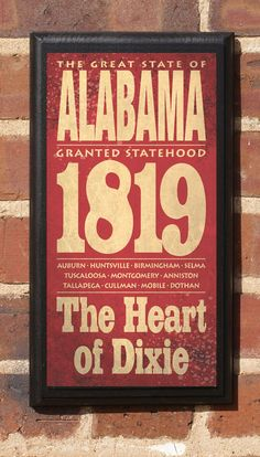 The State of Alabama Vintage Style Wall Plaque.