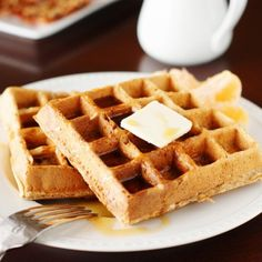 Homemade Whole Wheat Waffles - pop leftovers in the freezer for a quick breakfast later on.